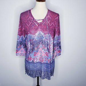 B.L.E.U. Pink 3/4 Slv Multi Color Metallic Tunic